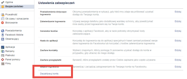 3 Jak wyłączyć konto na Facebooku