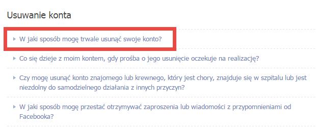 Jak trwale usunąć konto na Facebooku