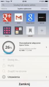 opera mini kompresja danych