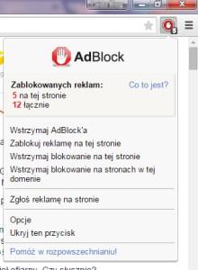 Opcje AdBlocka w Google Chrome