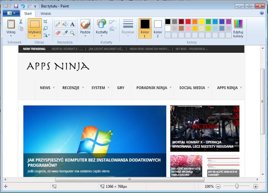 Zrzut ekranu w Paint
