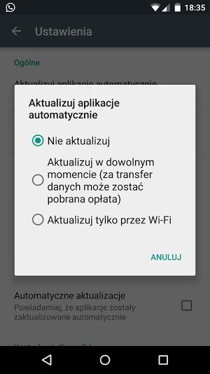 Android - aktualizacje automatyczne - jak wyłączyć