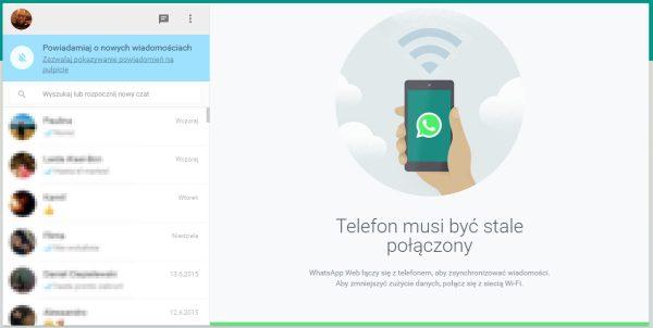 Okno czatu w Whatsapp Web