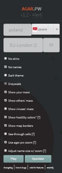 Opcje Agar.io Mods