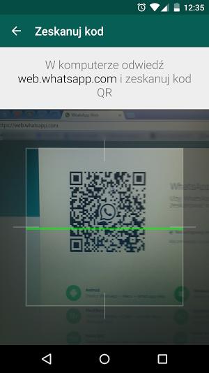 Skanowanie kodu QR w WHatsApp Web