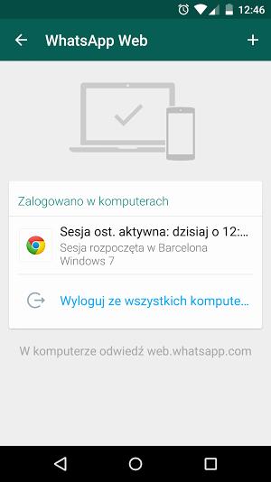 WhatsApp Web - wyloguj ze wszystkich sesji