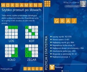 Wordament zaraz po pierwszym uruchomieniu przedstawia nam na jednym ekranie proste zasady gry, dzięki czemu od razu możemy przystąpić do zabawy. Jeśli natomiast utworzymy konto Microsoft, to będziemy mogli śledzić statystyki z naszych rozgrywek