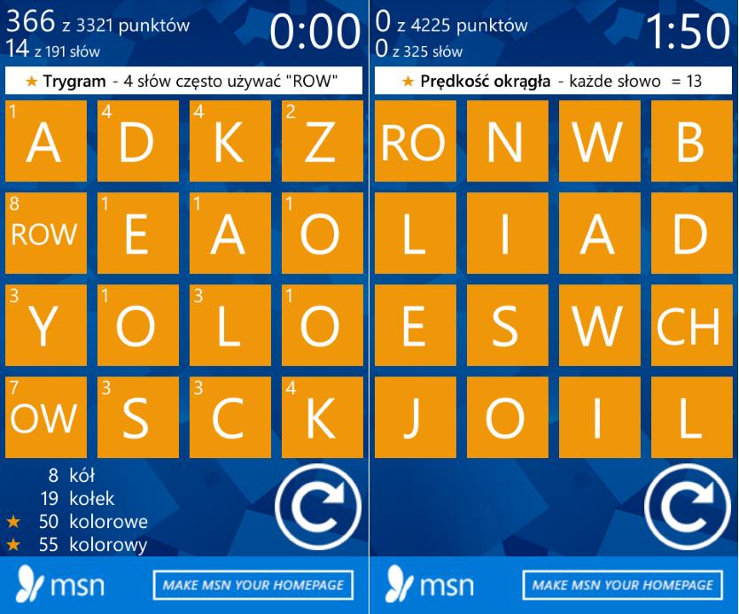 """W wordamencie mamy kilka typów rozgrywek. Na grafice po lewej stronie mamy runde, w której dodatkowo punktowane jest każde słowo zawierające cząstkę """"ROW"""". Z kolei druga grafikę prezentuję gratkę dla posiadaczy szybkich palców. Każde słowo punktowane jest tak samo, więc kto znajdzie ich więcej, ten zwycięży."""