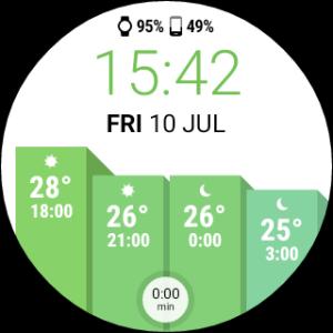 InstaWeather for Android Wear zielona tarcza