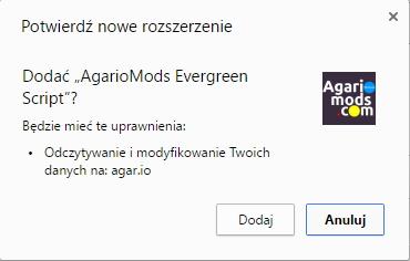 Potwierdzenie Agario Mods Evergreen Script