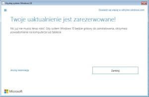 Potwierdzenie rezerwacja Windows 10