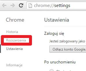 Rozszerzenia w Google Chrome