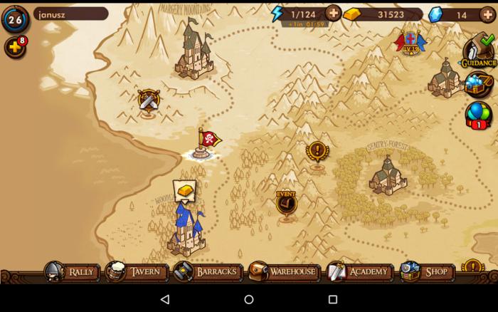 Mapa świata w Mini Warriors na Androida