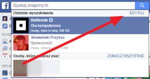 Usuwanie historii wyszukiwania w Facebooku