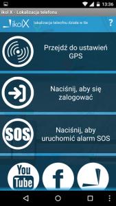 Główne menu ikol X na Androida